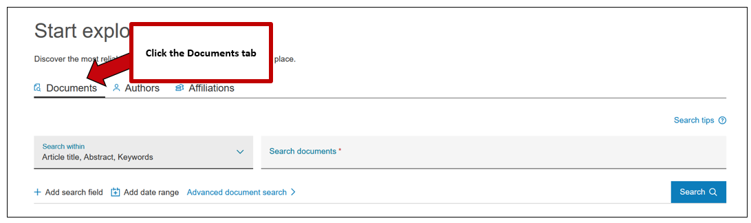 Screenshot of Scopus document search, with instructions to click the Documents tab