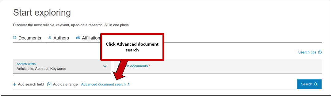 Screenshot of Scopus document search, with instructions to click advanced document search