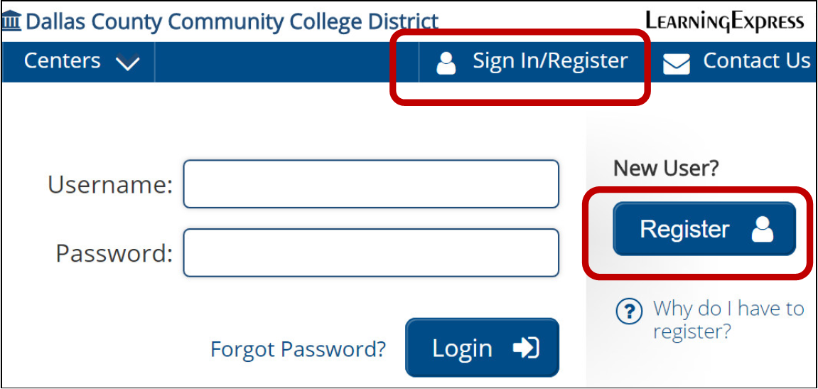 Image for Sign in Register Page for Dallas College for Learning Express