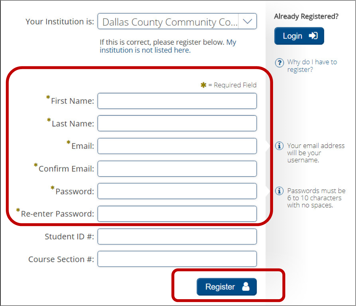 Image showing Required Fields for Registration for Learning Express