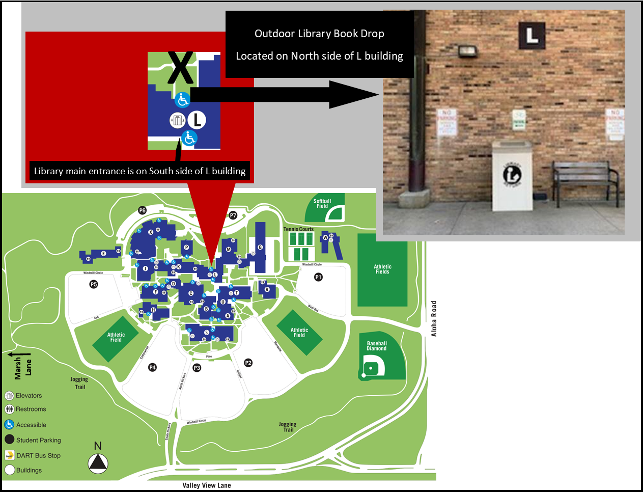 Map of Brookhaven Campus and Image of Book Drop on North Side of L Building
