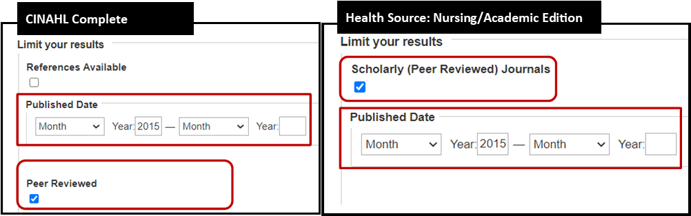 Limit Your Results Area of CINAHL and Health Source