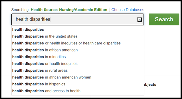 Screenshot of Search with Health Disparities