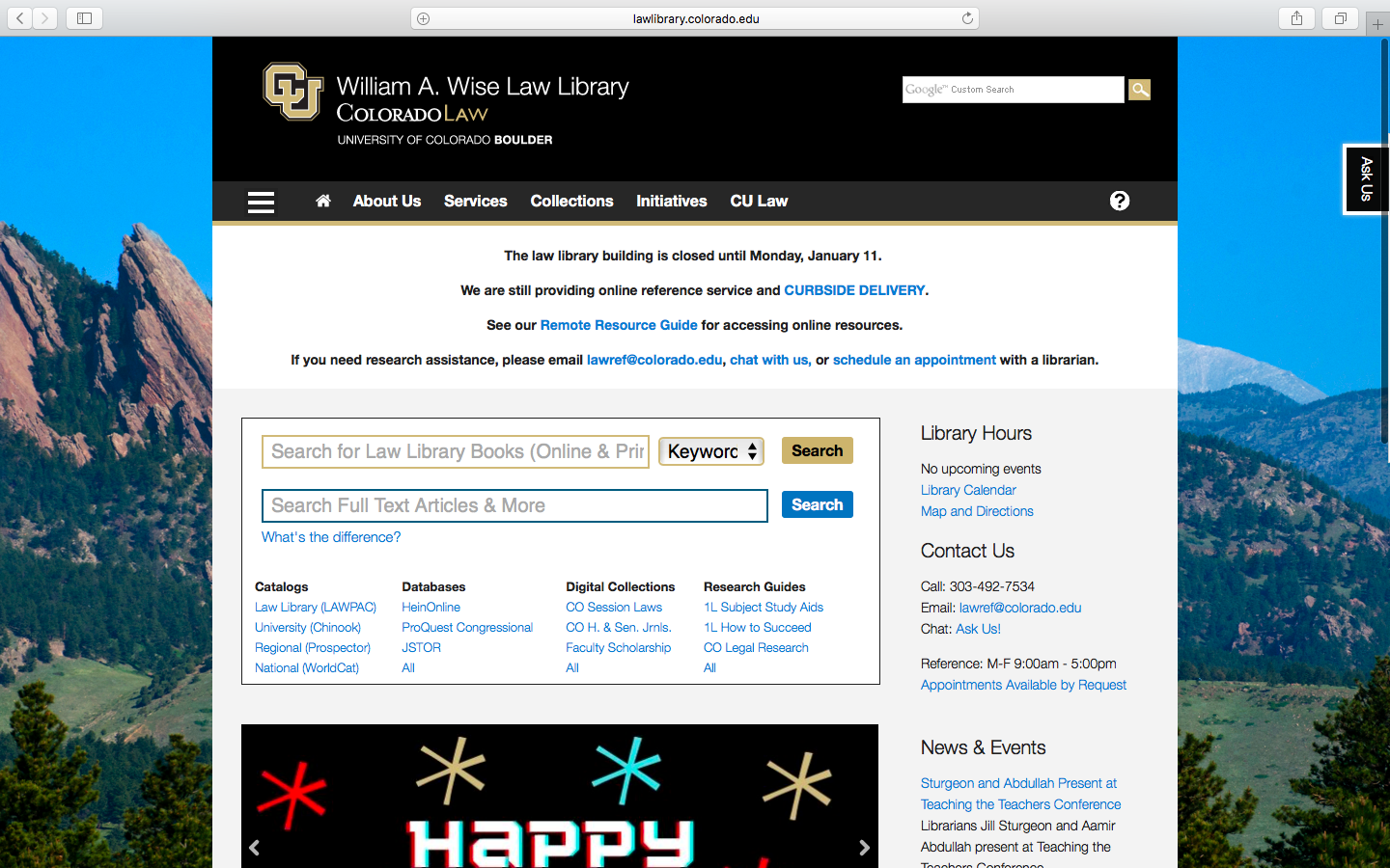 Go to the William A. Wise Law Library Website.