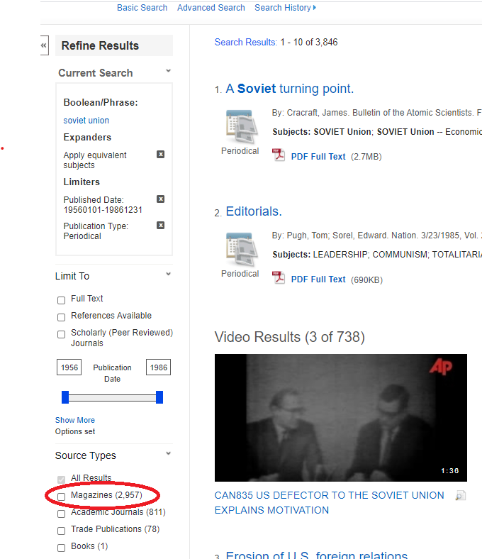 Shows the filter by magazine option on the left side of the search results page.