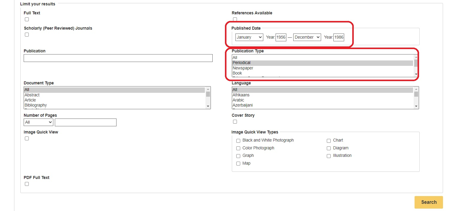 Shows where the Published Date and Publication Type search limiters are located.
