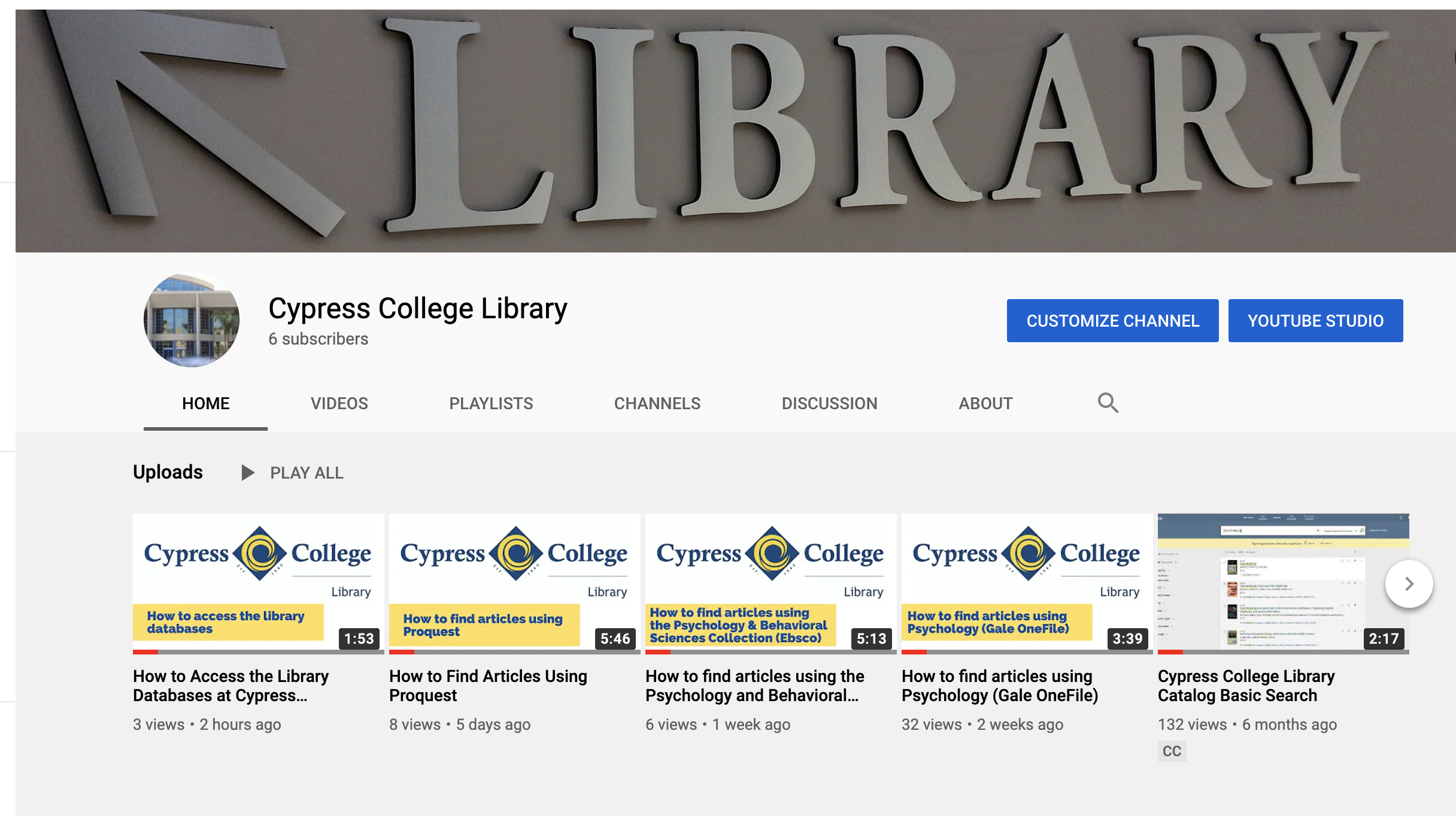 Cypress College Library YouTube page