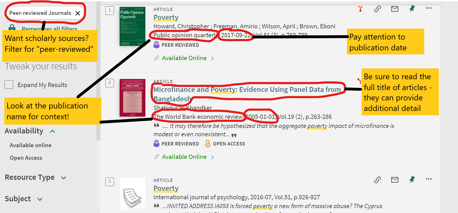 Markup of search results, highlighting peer-review filter, publication name, and publication date