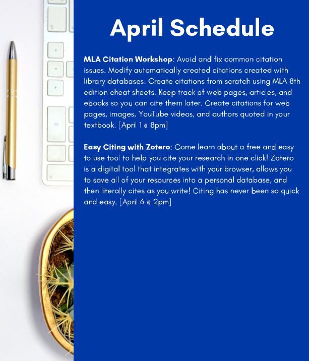 library essentials april schedule