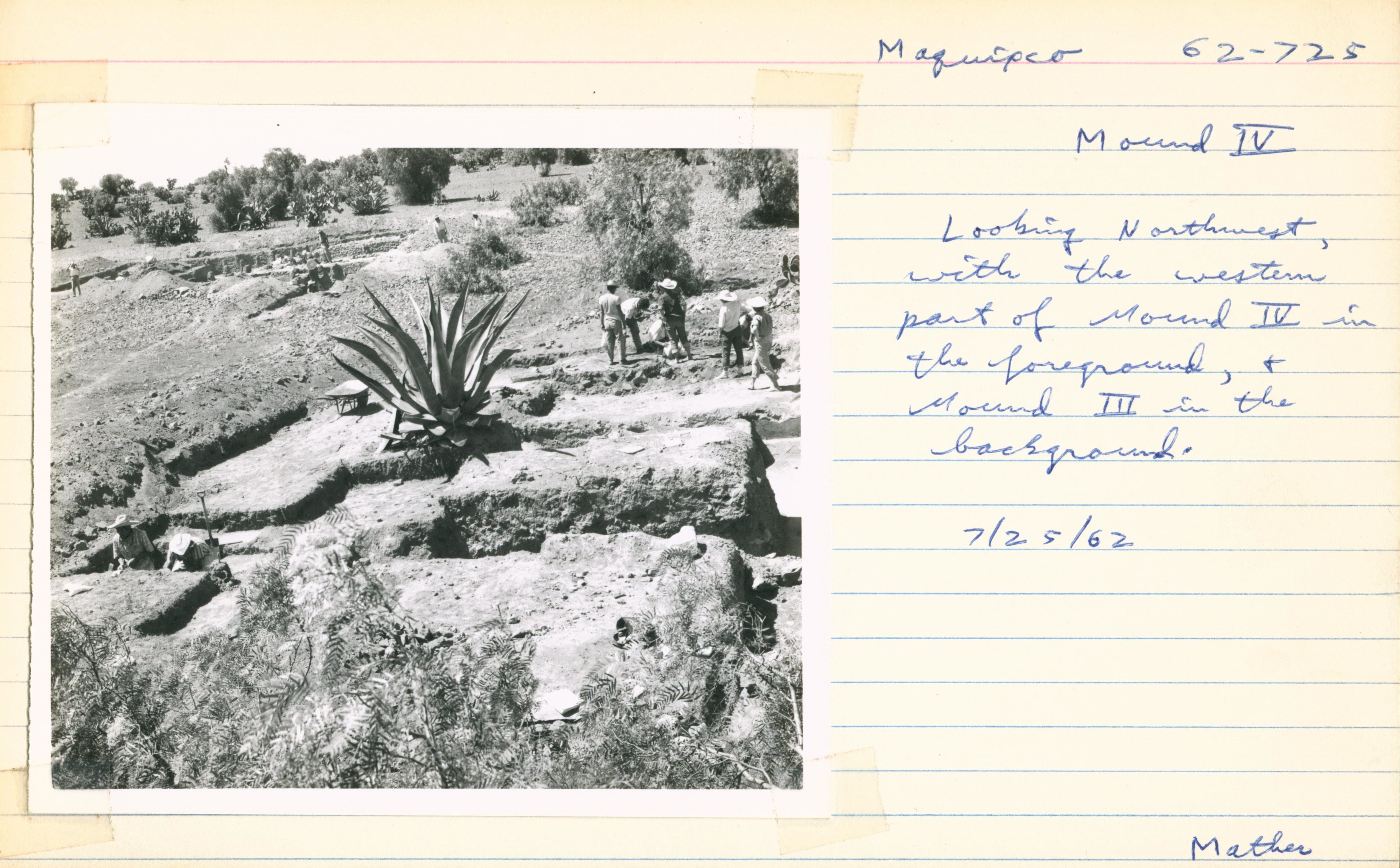 Field note card from Maquixco, Mexico archaeological excavation showing photograph of people and large aloe plant on left and field notes on right