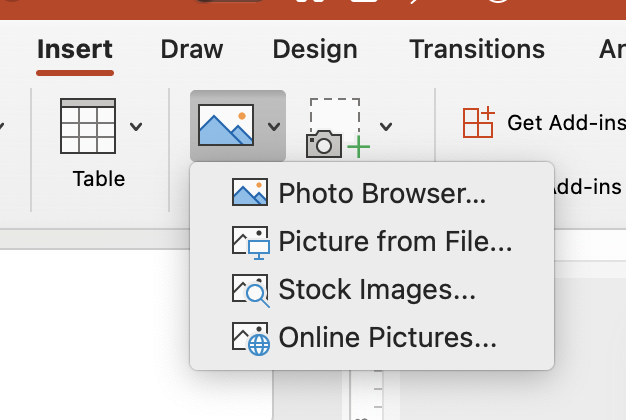 PowerPoint menu for inserting an image into PowerPoint