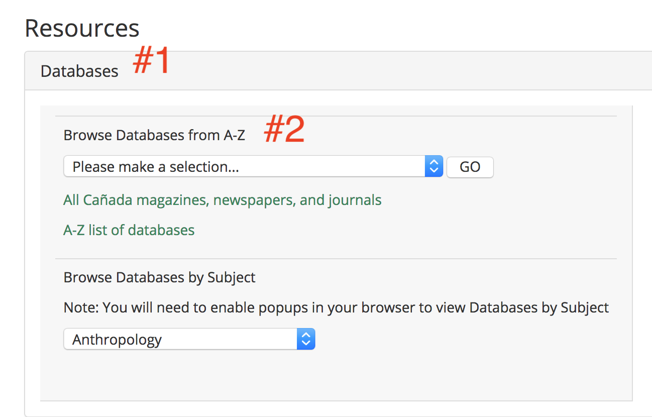 """Click on """"Databases,"""" then choose the database you want to search under the dropdown menu"""