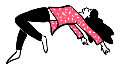 Illustration of a woman in black pants and a pink shirt dancing