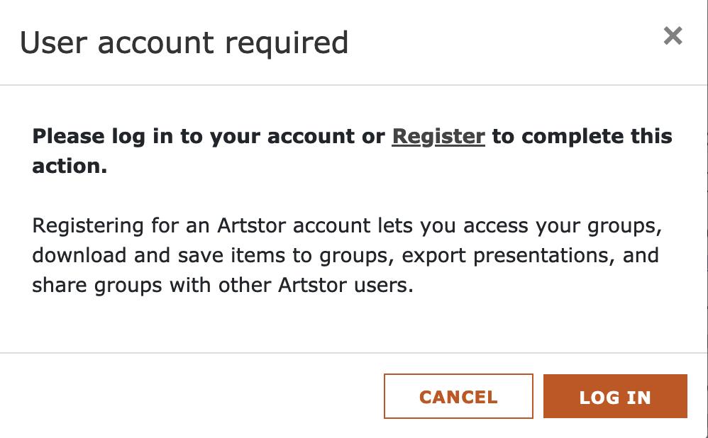 ARTstor user account login and registration pop-up