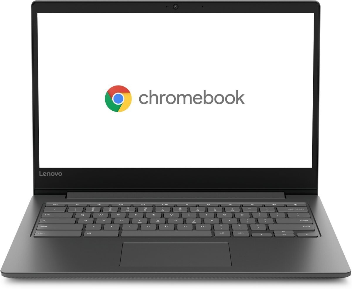 image of a black chromebook with the chrome logo on the screen