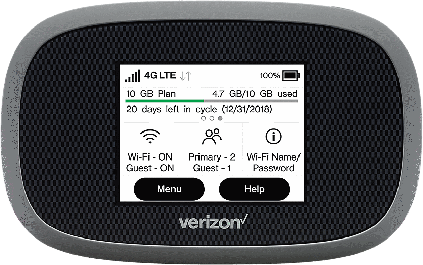 Image of black and grey rectangular Verizon Mobile HotSpot with screen