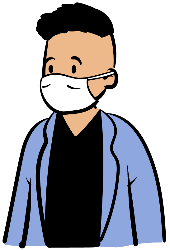 illustration of man with face maska