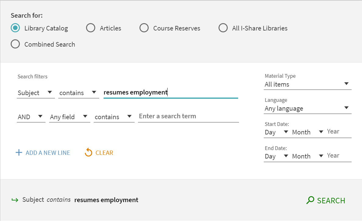 Milner catalog search for the subject of resumes employment