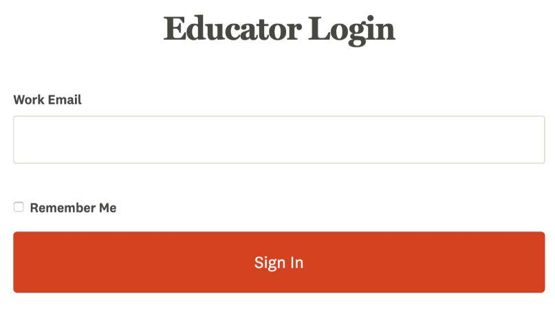 Educator Login Screen