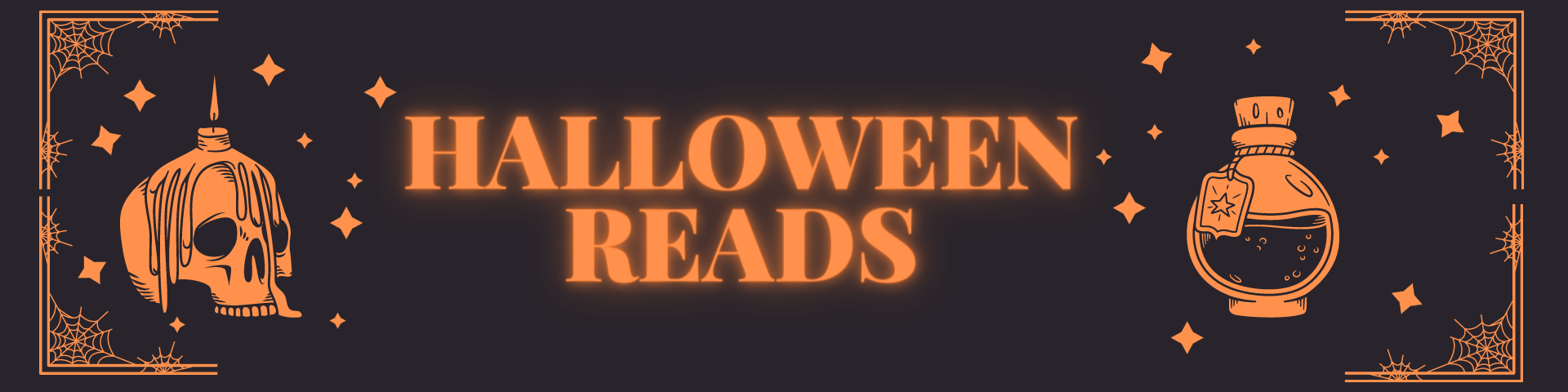 "black & orange image that says ""hallowe"