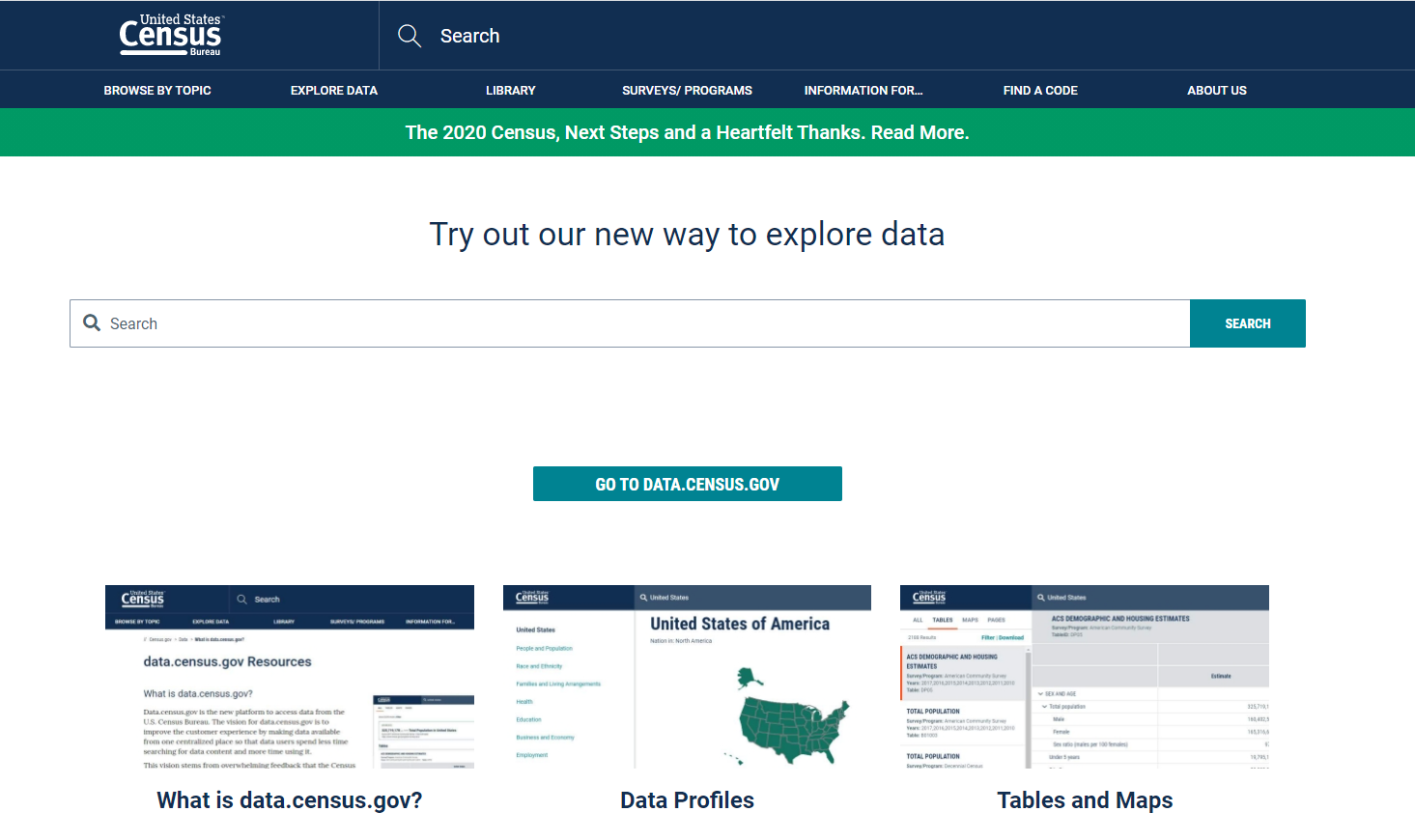 Census Data home page
