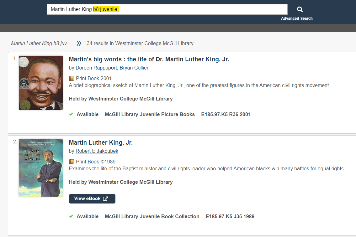 screen shot showing search term Martin Luther King b8:juvenile