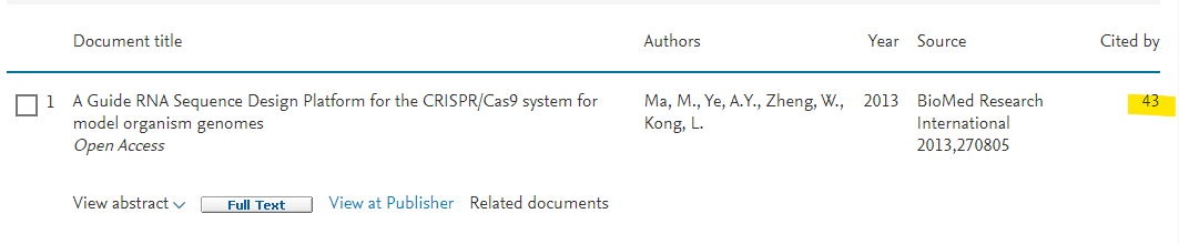 "Scopus result for ""A Guide RNA Sequence Design Platform..."" - 43 citations"