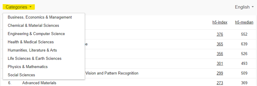Screenshot of Google Scholar with Categories highlighted and drop-down menu showing
