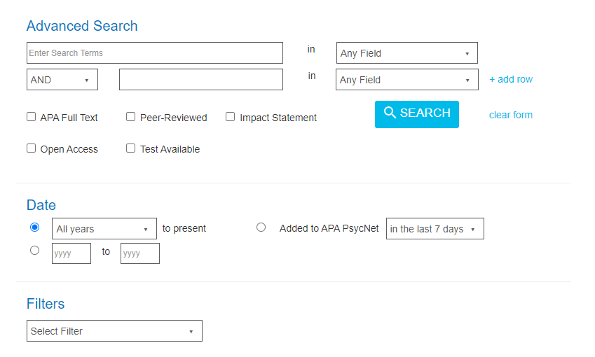 American Psychological Association PsycNet Advanced Search Screen