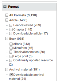 WISE Format Menu with Downloadable Archival Material checked. This option is nested under Archival Material, the 4th option