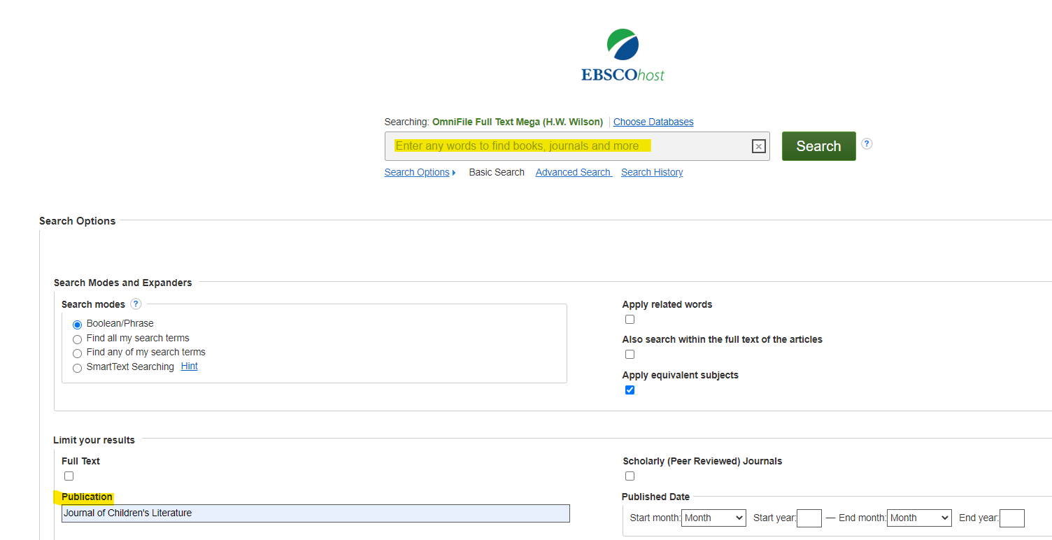 EBSCO search screen. Publication limiter is in the second section under Search Options.
