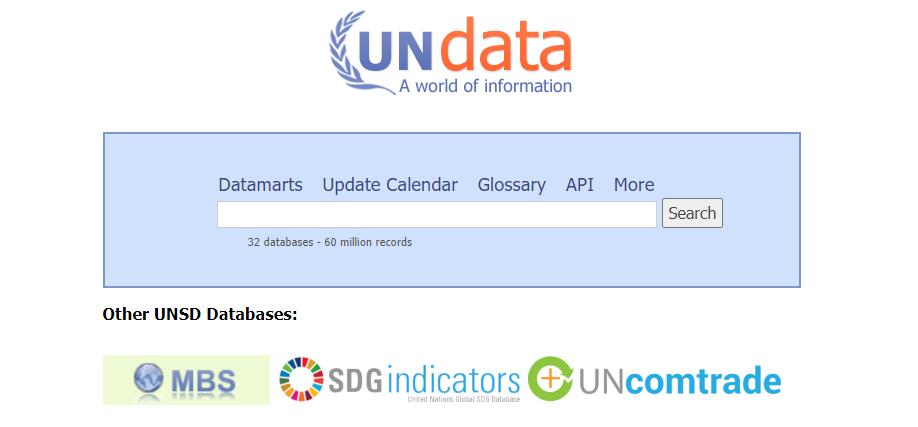 UN Data home page