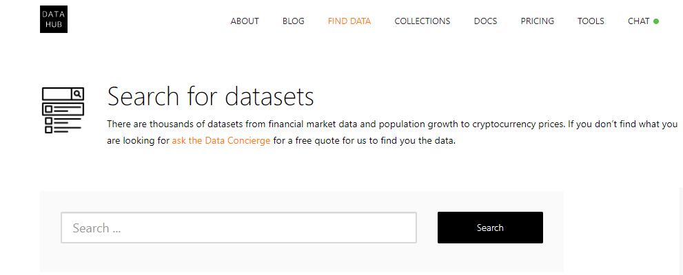 Data hub home page