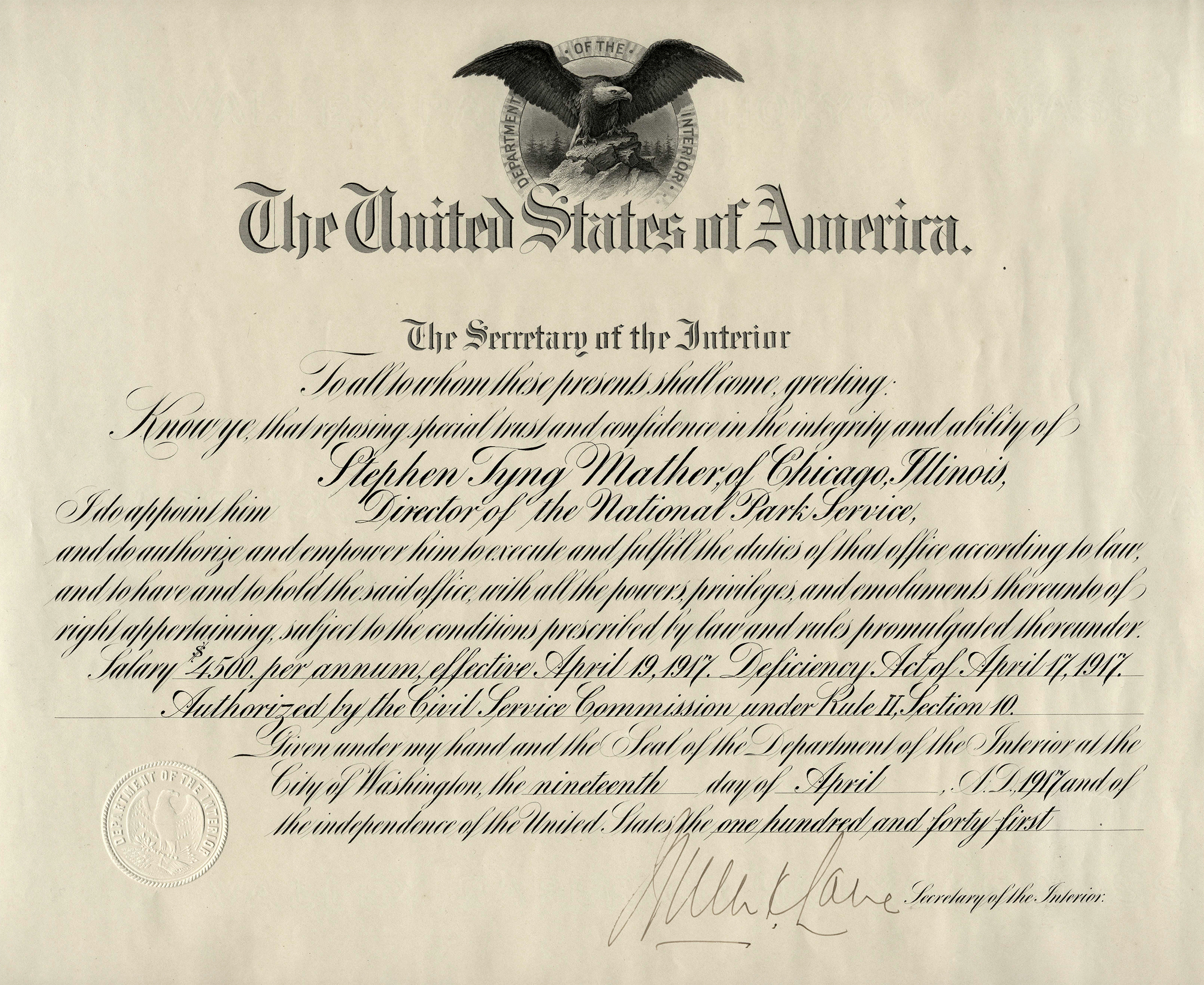 Certificate of appointment as Director of U.S. National Park Service