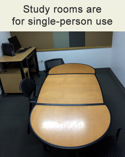 study rooms are for single-person use - interior of study room