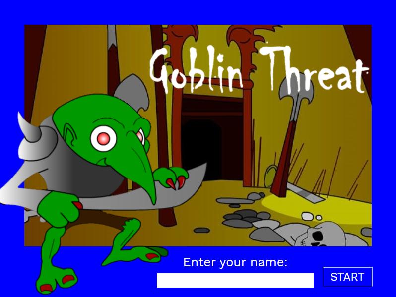 screenshot of the start screen of Goblin Threat