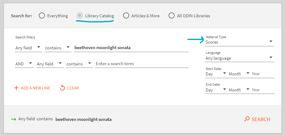 screenshot of advanced search