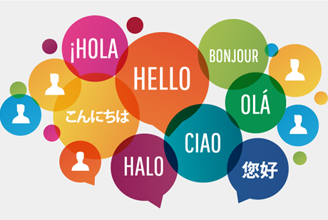 """""""hello"""" in speech bubbles in several languages"""