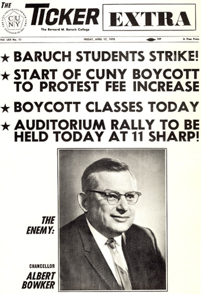 Cover page of strike issue showing photo of Chancellor Albert Bowker.