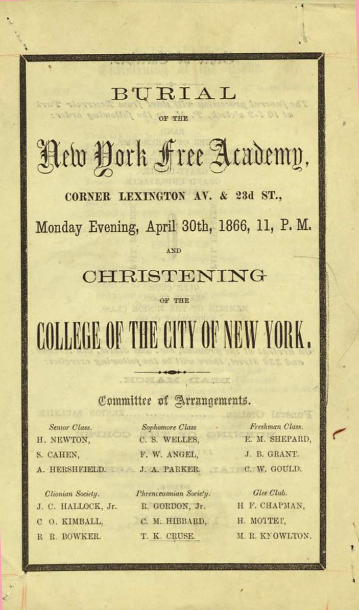 Pamphlet for the Burial of the Free Academy.