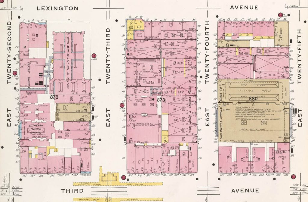 Atlas displaying properties in 1910 of what is now Baruch College Campus.