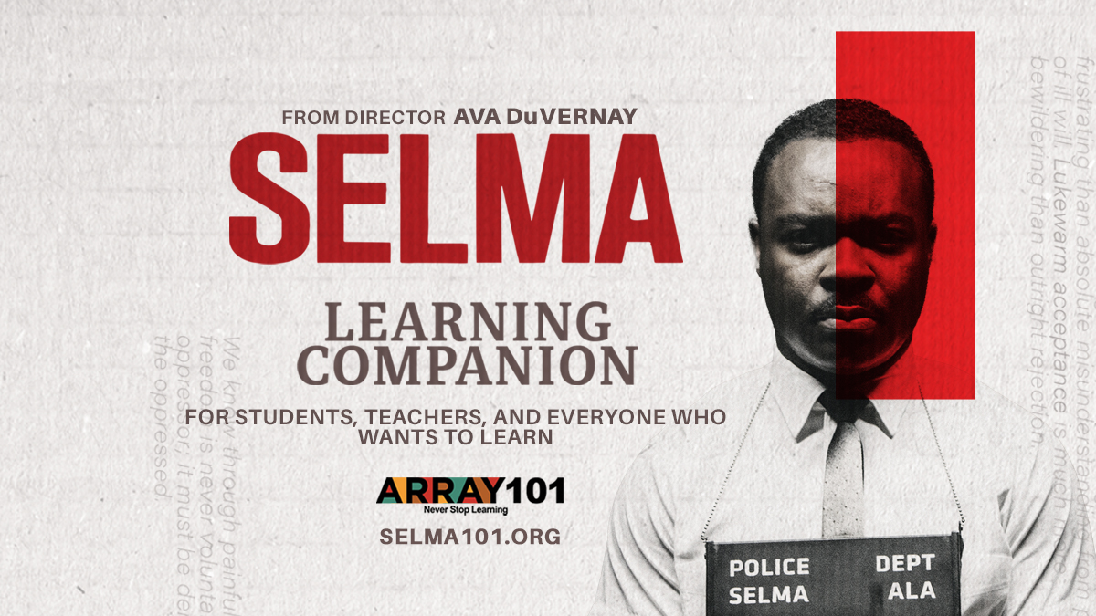Black, white, and red image of Selma101 with actor David Oyelowo as Rev. Dr. Martin Luther King Jr. with prison numbers hanging from his neck.