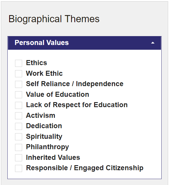 Biographical Themes in HistoryMakers under subsection Personal Values of ethics, work ethic, self reliance/independence, value of education, activism, dedication, spirituality, philanthropy, inherited values, and responsible/engaged citizenship.
