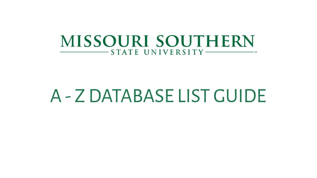 A-Z Database List