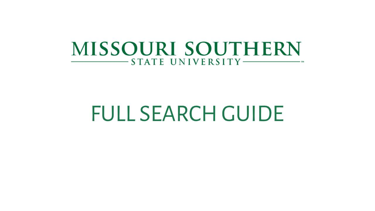 FULL SEARCH GUIDE