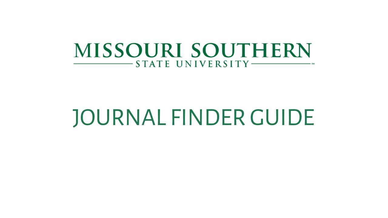 Journal Finder Guide