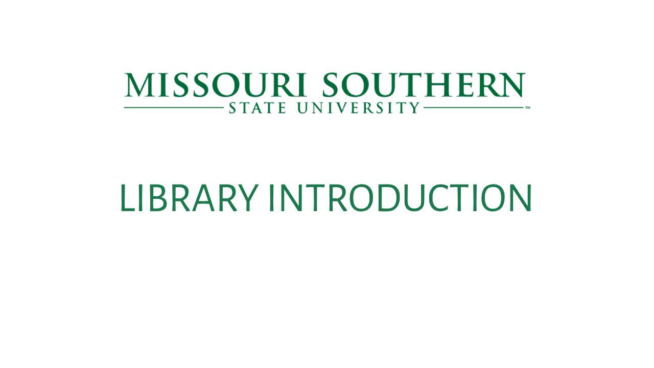 LIBRARY INTRODUCTION