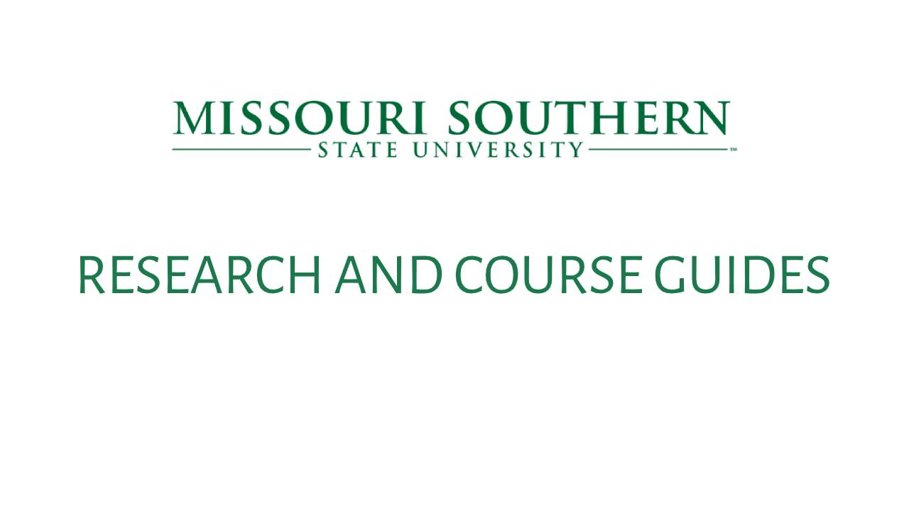 Research and Course Guides