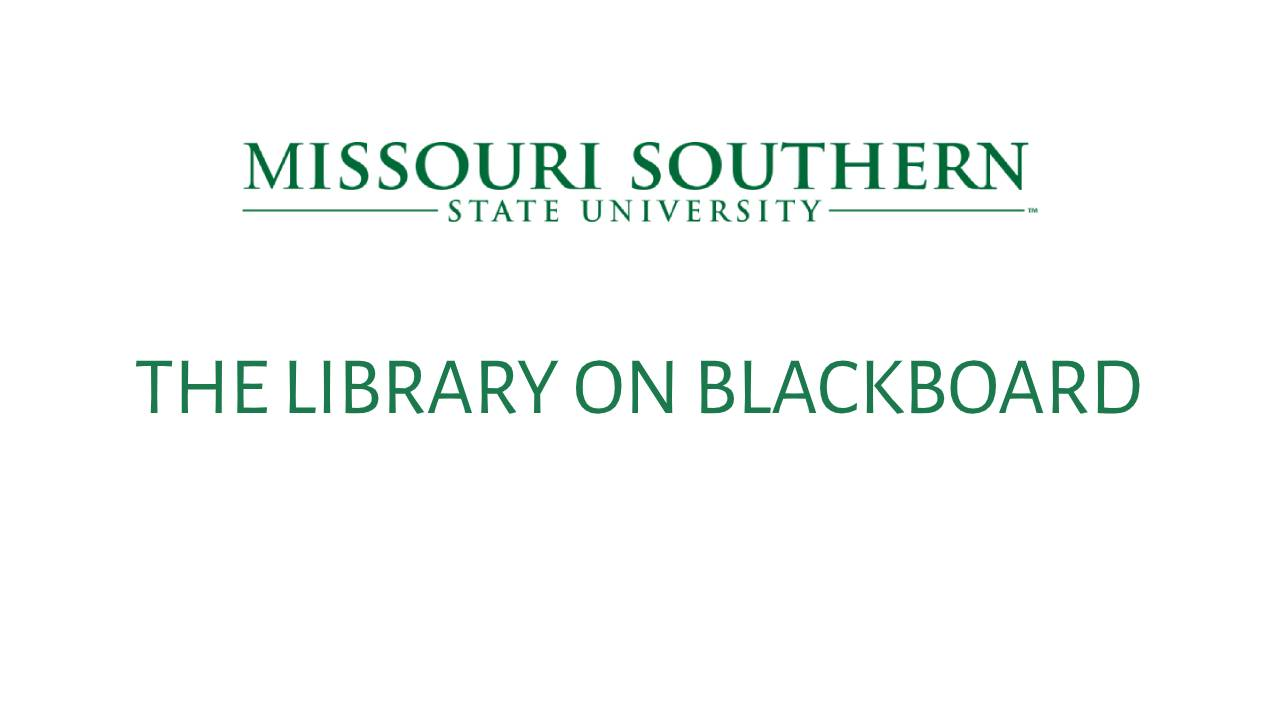 Library on Blackboard