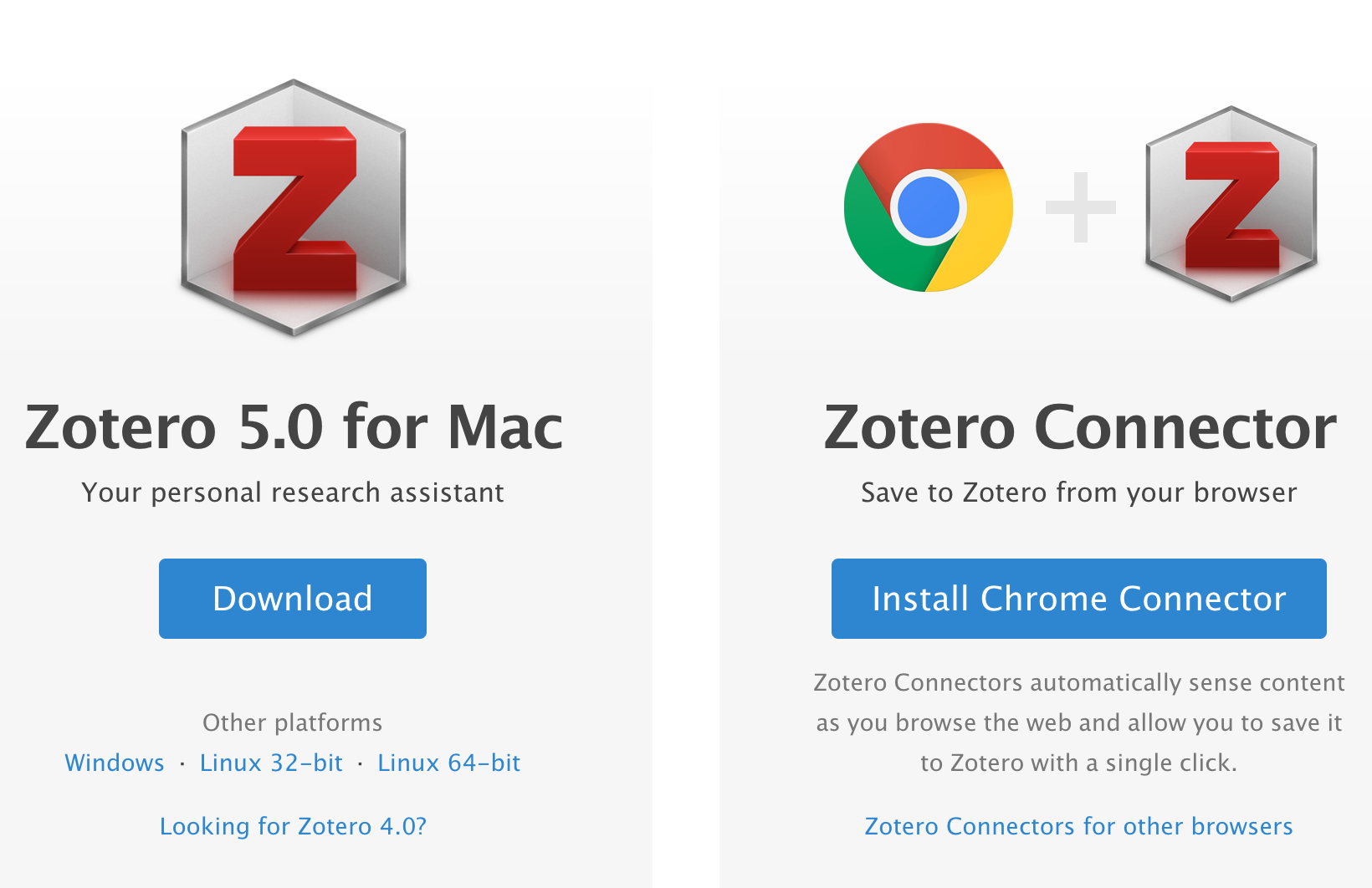 Zotero 5.0 and Zotero Connector download screen